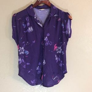 Vintage purple floral polyester button down blouse